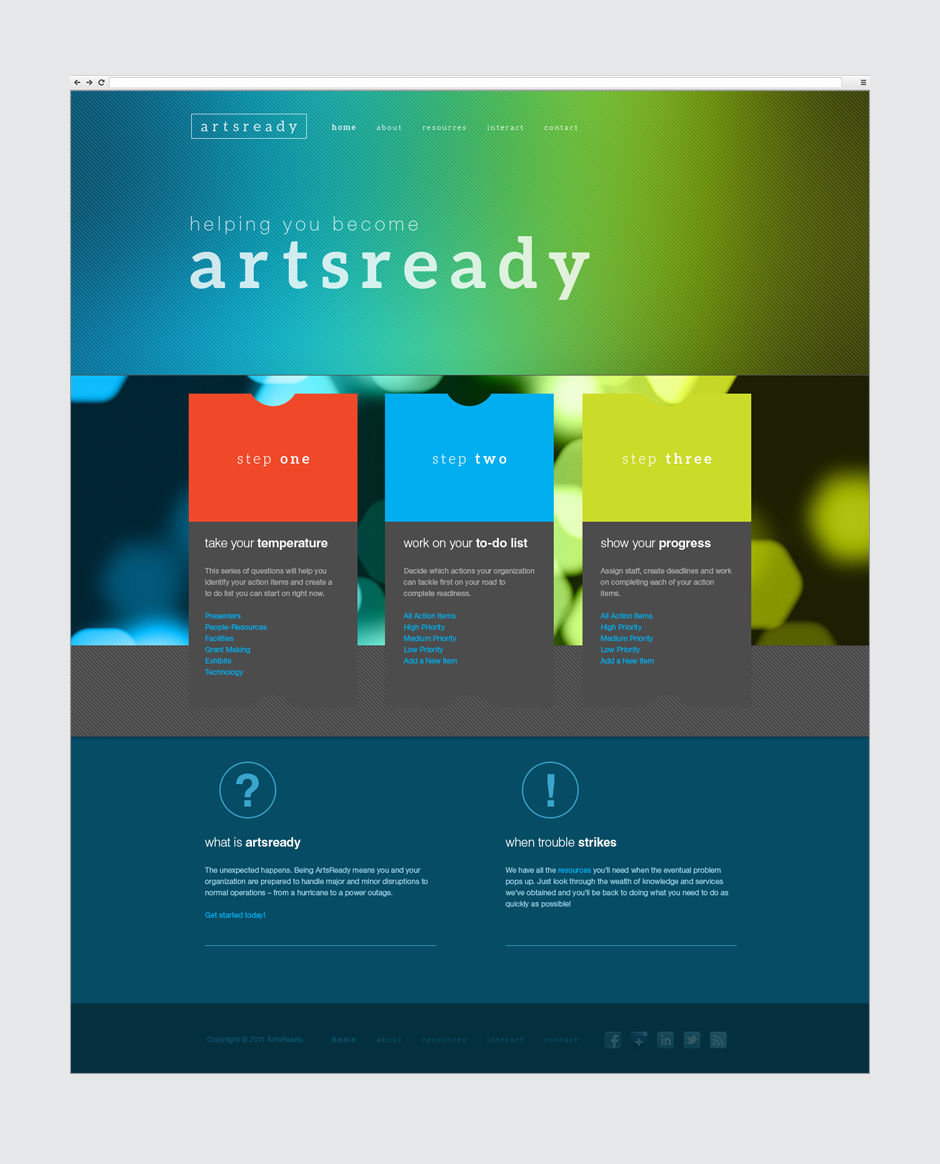 ArtsReady Website Design Home